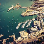 Aerial shot over the harbour and Docks